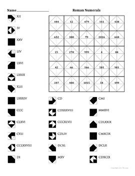 Roman Numerals Color Worksheet