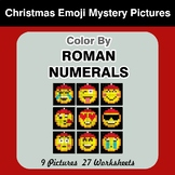 Roman Numerals - Color by Number - Christmas Emoji Math Mystery Pictures
