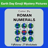 Roman Numerals - Color by Number - Earth Day Emoji Math Mystery Pictures