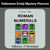 Roman Numerals - Color by Number - Halloween Emoji Math Mystery Pictures