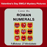 Roman Numerals - Color by Number - Valentine's Day Emoji Math Mystery Pictures