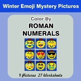 Roman Numerals - Color by Number - Winter Emoji Math Mystery Pictures