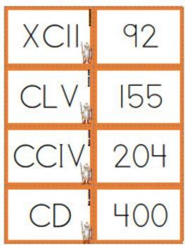 Roman Numerals - Flash Cards