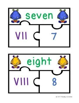Roman Numerals Puzzles Activity for Roman Numerals 1-20