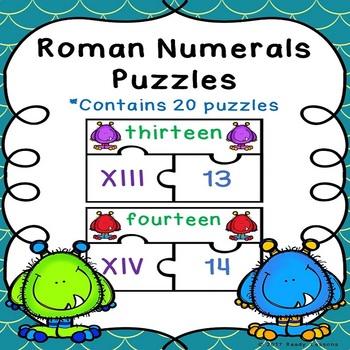 Roman Numerals Game Puzzles for Roman Numerals 1-20