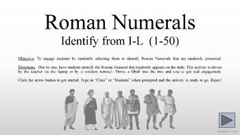 Roman Numerals I-L (1-50)