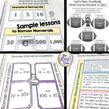 Roman Numerals Interactive Notebook Grades 3-5 Plus Roman Numeral Posters BUNDLE