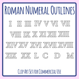 Roman Numerals Outlines for Coloring Etc Clip Art Set Commercial Use