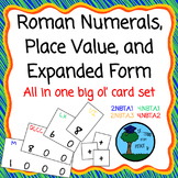 Roman Numerals, Place Value, & Expanded Form card set + base ten mat