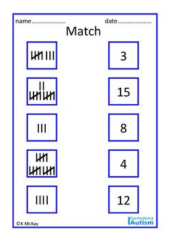Roman Numerals, Tally Marks, Match & Count, Autism Life Skills Math