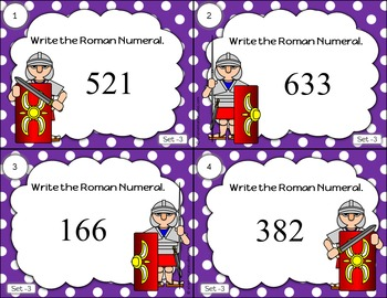 Roman and Arabic Numerals Task Cards