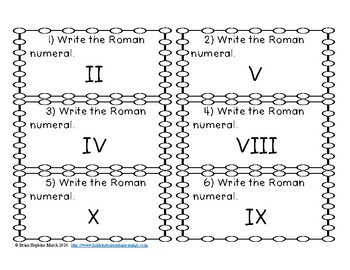 Roman Numerals Task Cards