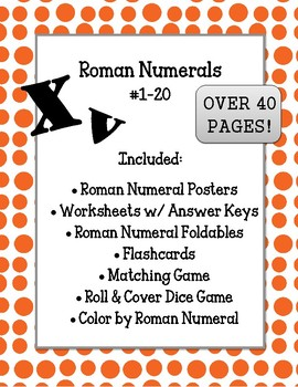 Roman Numerals Unit. Beginner 1-20 Flashcards Games Centers Worksheets