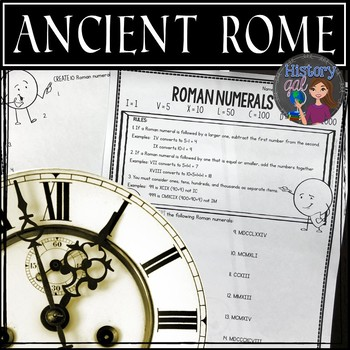 Ancient Rome: Roman Numerals Worksheet