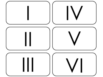 Roman Numerals printable Flashcards. Math flashcards.