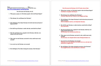 Roman Persecution of the Christians Primary Source Worksheet Collection