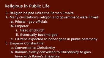 Roman Religion/ Life in a Roman City