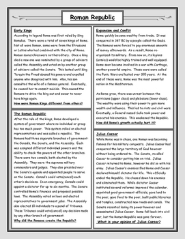 Roman Republic Reading and Worksheet