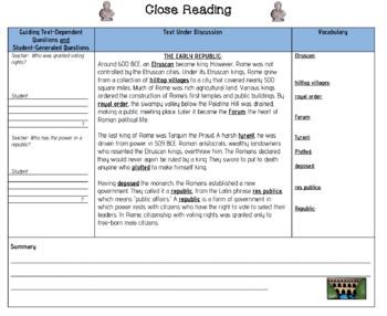 Roman Republic Close Reading SS.6.W.3.11 & SS.6.E.3.3