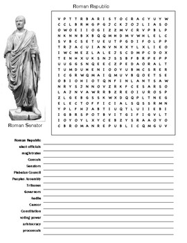Roman Republic Word Search and Vocabulary Assignment