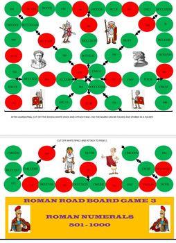 Roman Road Board Game with Roman Numerals 1-100