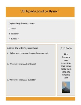 Roman Roads: introduction and worksheet with vocabulary words