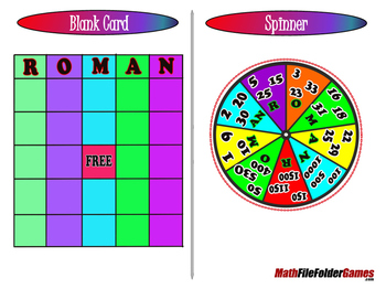 "Roman Spin - Convert Numerals from Roman to Arabic Form ""BINGO"" Game"