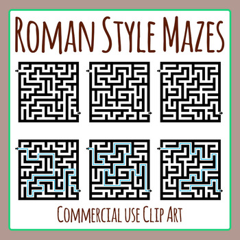 Roman Style Mazes Clip Art Set for Commercial Use
