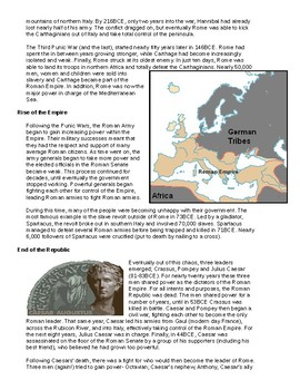 Roman Timeline Project and Readings