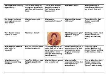 Roman Women Bingo