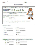 Roman numeral worksheet for 3rd grade