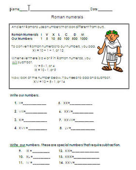 Roman numeral worksheet for 3rd grade by The bilingual classroom