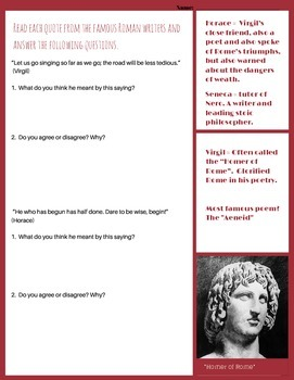 Roman philosophers and writers: Analyze quotes from Virgil, Seneca and Horace.