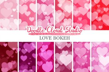 Romance Hearts Bokeh digital paper, Valentine Bokeh Overlay, Pink, Red