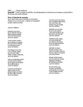 Romance de la Pérdida de Alhama, Textual Evidence (Level 4 and 5 devices)