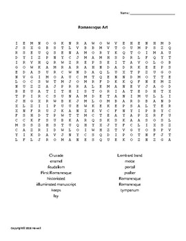 Romanesque Art Word Search for Art History Students