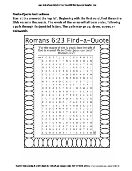 Romans 6:23 Coloring Page and Word Puzzles