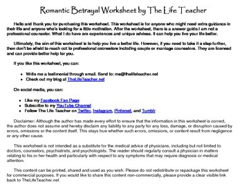 Romantic Betrayal Worksheet