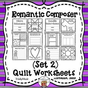 Romantic Composers Quilt Worksheets (Set 2)