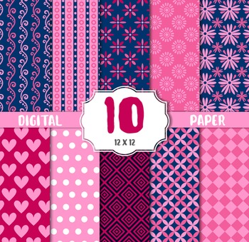 Romantic Digital Paper, Pink Red Hearts Valentines Scrapbooking, floral, stipes