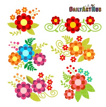 Romantic Flowers Clip Art - Great for Art Class Projects!