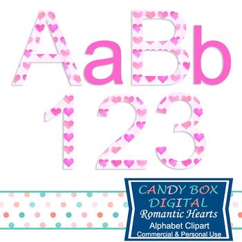 Romantic Hearts Alphabet Clip Art - Commercial Use OK