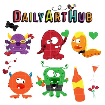 Romantic Monsters Clip Art - Great for Art Class Projects!