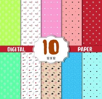 Romantic Paper, Valentine Digital Paper, Romantic Background, Scrapbook Paper