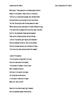Romantic Poems and Annotation Assignment