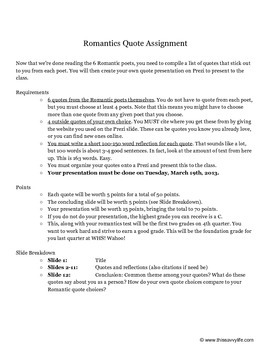 Romantic Poets Quote Assignment