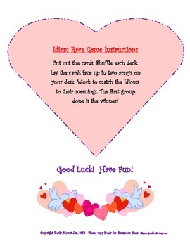 Romantic Rebus Tale and Card Game to Teach 50+ Relationship/Everyday Idioms!