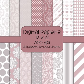 Rose/Mauve/Tan Colored Digital Papers - 16 designs