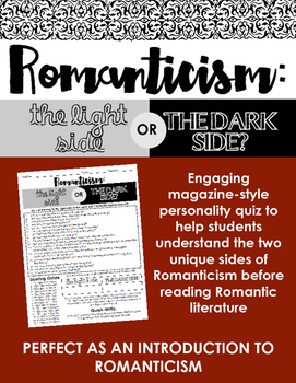 Romanticism: Light Side or Dark Side? Quiz -- Perfect as an intro to Romanticism