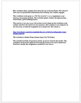 Rome: Ancient Super City Worksheet (Great Website)
